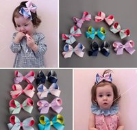 Wholesale Candy Clips - Baby Girl Ribbon Hairbands Candy Color Hair Bows Hair Clip Girl Headwear Holiday Gift For Kids Hair Accessories 24pcs lot