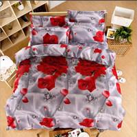 ropa de cama de algodón al por mayor-Rosa roja de dibujos animados 3D Funda de edredón de algodón estampada Sábana de cama Flowel Funda de almohada Día de San Valentín Regalo Ropa de cama Tamaño Queen