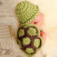 Wholesale Crochet Turtle Costume - Children Photography Props Cute Green Turtle Baby Hat with Cape Set Newborn Baby Crochet Animal Beanie Costume Set