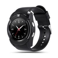 kamera kadranları toptan satış-Akıllı İzle V8 Yuvarlak Dial Bluetooth Smartwatch Telefonlar Kamera ile SIM Destekler Android iOS için Kamera Spor Bilek Saatler Giyilebilir Kol