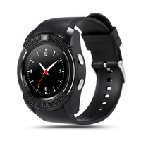 ios wristwatch venda por atacado-Smart watch v8 rodada de discagem bluetooth smartwatch telefones suporta sim com a câmera esportes relógios de pulso para android ios wearable relógio de pulso