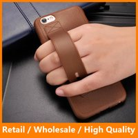 Wholesale Iphone Hold Case - Luxury PU Leather Surface Soft TPU Hand Hold Strap Standing Function Back Cover Case for iPhone 6 6s 6s Plus 7 7 Plus