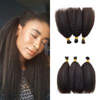 Wholesale yaki braiding hair online - Kinky Straight Human Hair Bulk Bundles Brazilian Natural Black Yaki Human Braiding Hair Bulk FDSHINE