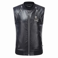 Wholesale Cheap Leather Jackets Free Shipping - 2017 New Arrival Hot Sale Cheap Special PP Men's Leather Vest Jacket Black Autumn Winter Light Jacket Online Top Quality Free Shipping