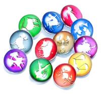 Wholesale European Style Porcelain - Rivca Snaps Button Jewelry Hot styles Twelve constellations 18mm glass Metal Snap Button Charm Fit Bracelets NOOSA chunk