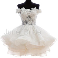Wholesale See Through Bodice Wedding Dresses - Sexy Off the Shoulder Short Wedding Dress with Beaded Floral Lace Appliques Layered Tiered Organza Skirt See Through Bodice Bridal Dresses