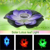 ingrosso fiori di giardino solare potenza-0.1W Solar Powered Multi-colored LED Lotus Flower Lampada RGB Resistente all'acqua Outdoor Floating Pond Night Light per Garden Pool