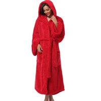 Wholesale Thick Nightgown - Wholesale- Winter Thick Warm Women Robes 2017 Coral Fleece Sleepwear Long Robe Woman Hotel Spa Plush Long Hooded Bathrobe Nightgown Kimono