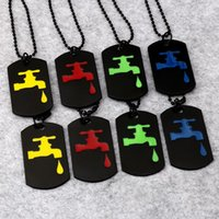 Wholesale Taps Plating Alloys - 2017 Double Layer Colorful Unique Design Water-tap Pendant Necklace Hip Hop Jewelry Faucet Pattern Dog Tag Gift For Men Women