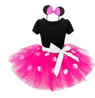 Wholesale Halloween Costume Mouse - Baby Girls Dress Kids Mouse Party Tutu Dress Christmas Costume Outfits Short Sleeve Princess Fashion Party Polka Dot Dress KKA2411