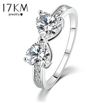 Wholesale Engage Rings - 17KM High quality New Elegant Finger Bow Crystal Ring Wedding Engaged Rings Jewelry For women wholesale
