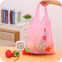 Fabric square folding table set - New Creative table Strawberry Foldable bag gift shopping Reusable Environmental Protection Pouch Eco Friendly Shopping Bags Grocery Folding