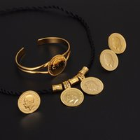 Wholesale Gold Coin Ring Settings - Gold Coin Jewelry sets gold color Ethiopian Coin set Necklace Pendant Earrings Ring Habesha Wedding Eritrea Africa Arab Gift