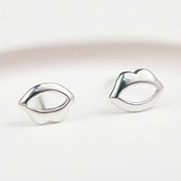 Wholesale Sterling Silver Sexy Earrings - 5 pairs lot Fashion Women Sexy Pure Silver Lips Stud Earrings 925 Sterling Silver Earrings Statement Jewelry Pendientes Brincos
