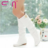 Wholesale Boots 43 - Wholesale-2016 New Sexy Buckle Knee High Winter Boots Buckle Strap Women Boots Big Size 34-43 Fashion Spring Autumn Boots for Women shoes