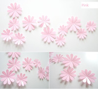 Wholesale Decoration Flower Pieces For Paper - 12 pcs a set Daisy Flower Wall Stickers DIY Removable PVC 3D Flower Decoration Free Shipping