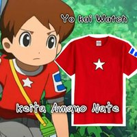 Wholesale Teenage Watches - Free shipping 5color Yo kai Watch Keita Amano Nate Cosplay Red Short Sleeve T-shirt FOR KIDS