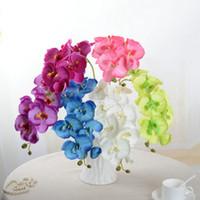 mariposas artificiales al por mayor-Al por mayor-Artificial Mariposa Orquídea Seda Flor Bouquet Phalaenopsis Boda Decoración para el hogar Moda Salón de bricolaje Decoración de arte F1