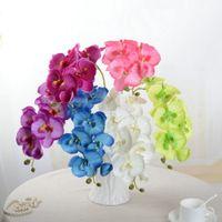 schmetterlinge raumdekoration großhandel-Künstliche Schmetterling Orchidee Seide Blumenstrauß Phalaenopsis Hochzeit Wohnkultur Mode DIY Wohnzimmer Kunst Dekoration