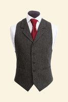 Wholesale Polyester Mens Dress Vests - 2017 Vintage Black Wool Tweed Vests Slim Mens Suit Vests Custom Made Sleeveless Suit Jacket Men Wedding Waistcoat Mens Dress Vest Groom Vest