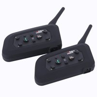 2PCS Vnetphone V6 Moto Bluetooth3.0 Casque Interphone Casque 1200M Moto Sans fil Interphone BT pour 6 Riders Casque Interphone