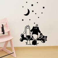 Wholesale Dog Vinyl Wall Decals - 67x42cm Cartoon Dog Bone Moon Star Design Wall Sticker Removable Art Mural Decal for Home Decoration Children's Bedroom Kids Room