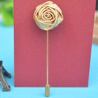 Wholesale mens flower lapel pins - Fashion Handmade Golden Rose Flower Lapel Pin Suit Boutonniere Solid Rose Shape Stick Brooches Mens Accessory for wedding women Jewelry Wedd