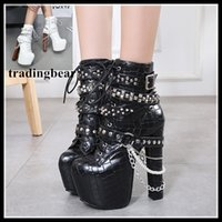 Wholesale trendy motorcycle boots - Trendy rivets chain motorcycle boots womens fashion squared toes high platform thick heel boots size 34 to 40