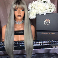 Wholesale Wig Bangs Human 1b - 10A Grade 1B Grey Human Hair Wigs Bbay Hair Full Bangs Brazilian Virgin Full Lace Wigs For Black Women Lace Front Ponytail Wigs