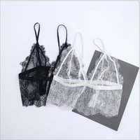 Wholesale Transparent Lace Tank Top - Lace Crochet Tank Top Sexy Cropped Camisole Bra Transparent Tank Top Deep V Neck Lace Bralette Top Spaghetti Strap