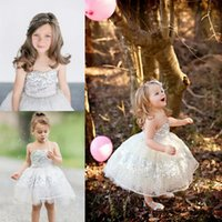 Wholesale Strapless Pageant Gown Purple - Silver Sequins Tulle Toddler Flower Girls Dresses For Weddings Strapless Cupcake Knee Length Sparkly Gold Little Girls Pageant Dresses