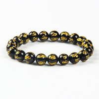 Wholesale Carved Stone Beads Wholesale - Free Shipping 10pcs lot Exquisite Semi-precious Stone Natural Black Onyx Prayer Beads Carved Tibetan OM Bracelet
