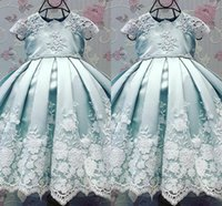Wholesale Party Baptism - Baby Blue Christening Dresses with Cap Sleeve 2017 Lovely Ball Gown Birthdays Party Dresses with Appliques Baby Infant Toddler Baptism