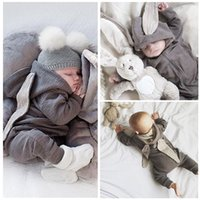 Wholesale Infants Rompers Baby Animal - Newborn Infant Baby Girl Boy Clothes Cute 3D Bunny Ear Romper Jumpsuit Playsuit Autumn Winter Baby Rompers One Piece Outfits Kids Clothes