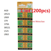Wholesale coin cell battery resale online - 200pcs AG0 LR521 LR69 A SR521 L521 LR63 V Alkaline Button Cell Battery coin batteries