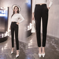 Wholesale Women Trouser China - Black Women Trousers Fashion Korean High Waist Sizes Women Trousers Pants Office Latest Clothing China Wholesale