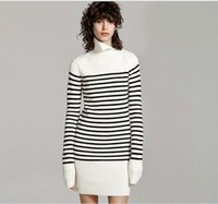 Wholesale High Collar Winter Sweater - 2016 autumn and winter women 's new navy wind black and white stripes high collar sweater dress long knitted dress