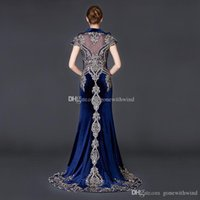 Wholesale Red Velvet Capes - real photos Arab Dubai blue velvet evening dresses 2018 cape sleeves heavily embroidery crystals beaded jewel high neckline evening gowns