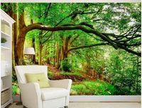 ingrosso albero sempreverde-Bella foresta albero sempreverde murale 3d carta da parati 3d carte da parati per tv sullo sfondo