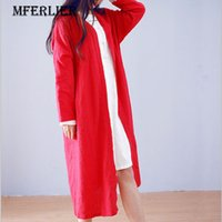 Wholesale thin red trench coat - Autumn Trench Coats for women Loose Casual Summer Shirts Women Solid White Red V Neck Long Sleeve Summer Cardigan
