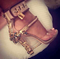 Wholesale crystal bond adhesive - Summer Luxury Designer Shoes Woman Metal High Heel Crystal PVC Gladiator Sandals Padlock Bejeweled Ankle Strap Rhinestone Sandal