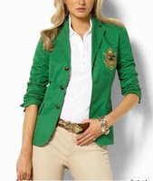 Wholesale 2016 womens fashion brand luxury design casual suits green blazers high quality women clothing Ameica apparel three bottons