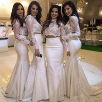 Wholesale Maid Collar - Two Pieces Lace Bridesmaid Dresses High Neck Long Sleeves Appliques Mermaid Maid Of Honor Dress Custom Size Wedding Party Gowns