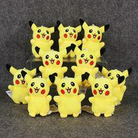 Wholesale pokemon stuffed set - 11cm Anime Poke Pikachu keychain Pendant Plush Soft Stuffed Doll Toy for kids gift 10pcs set free shipping retail