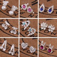 Wholesale Joker Style For Girls - XS New Fashion Love Stud Earring for Women Girls Tide Joker Many Style Crystal Stud Earrings Accessories Wholesale E198