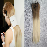 Barato Micro Loop Ombre-Ombre Micro Loop Easy Rings / Beads Extensões de cabelo 1g 100g 6/613 loiras Micro Hair Beads Extensions
