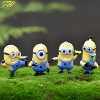 Wholesale Lovely Japanese - (4pcs lot) Minion miniature figurines toys cute lovely Model Kids Toys 3-5cm PVC japanese anime children figure world 160343
