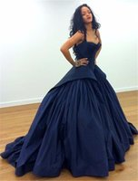 Wholesale Taffeta Evening Dress Corset - Sexy Navy Draped Taffeta Peplum Formal Evening Gowns 2017 Sweep Train Ball Gown Ruched Backless Corset Plus Size Prom Party Dresses New