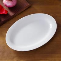 """Wholesale Oval Porcelain Plates - Porcelain fish plates oval plates pure white bone china plates oval shape 12"""" fish plate big plate serve for fish"""