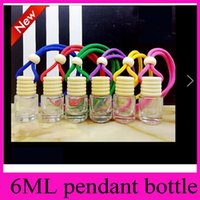 Wholesale Car Ornaments Perfume - 6ml Cylinder Pendant perfume bottles Cylindrical car ornaments bottles hanging car accessories car perfume empty bottles